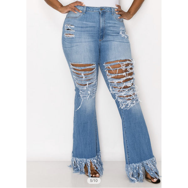 High waisted bottom fringe jeans 1029