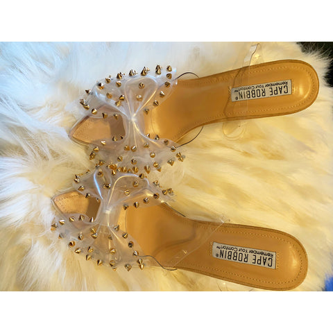 Clear my patch studded bow high heel
