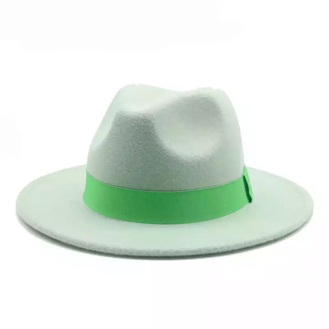 Mint green with green ribbon fedora