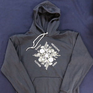 Flower Illustration Hoodie White Print - 2 colors