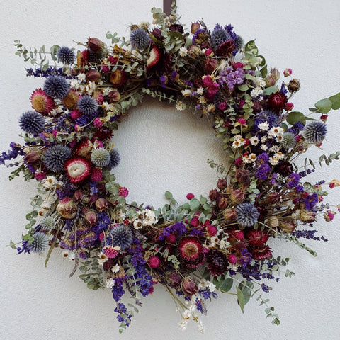 Dried Wreath: Raspberry Beret