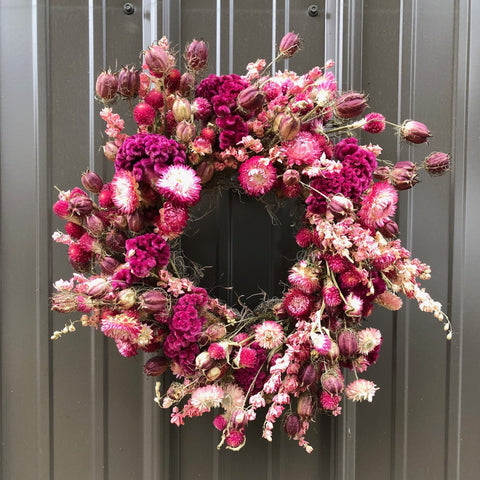 Dried Wreath: Pretty in Pink