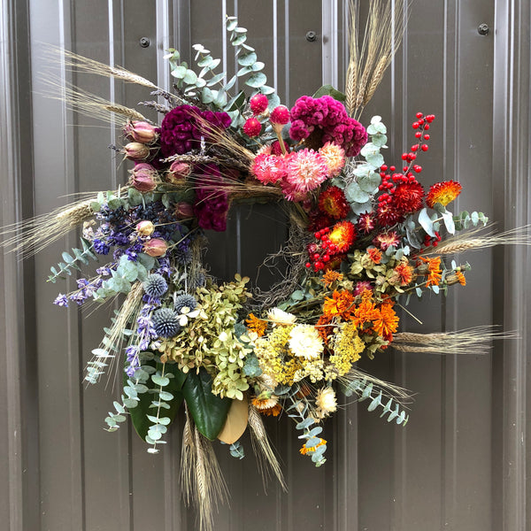 Dried Wreath: Over the Rainbow