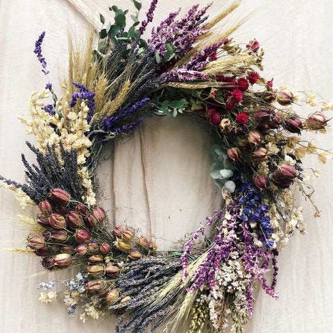 Dried Wreath: Shades of Purple