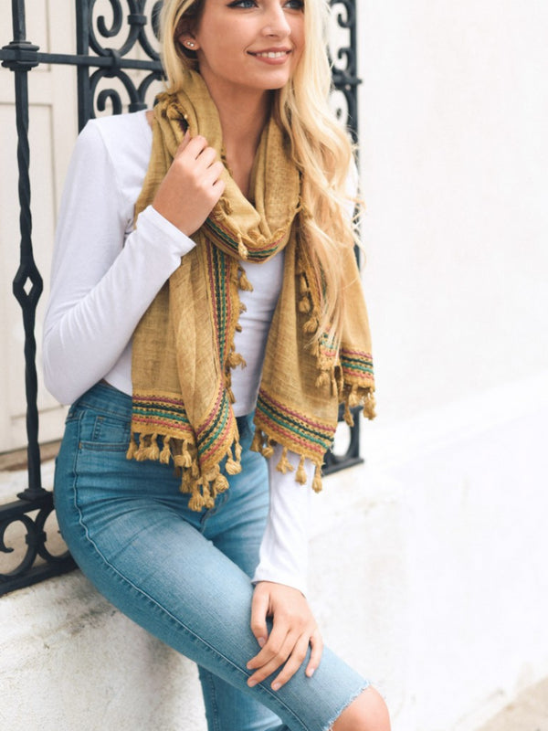 Boho Travel Scarf with tassels in mustard with Multi-Colored accents