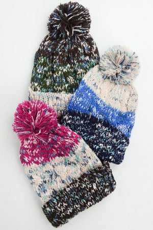Black Multi-Color Pom Knit Beanie Spocket App