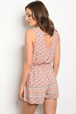 Libson Patterned Romper in salmon