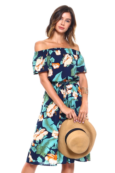Tropical Off Shoulder Floral Front Tie Dress