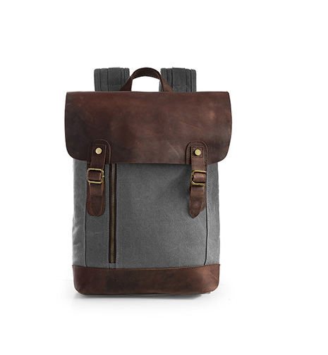 Vintage Canvas and Leather Laptop Backpack