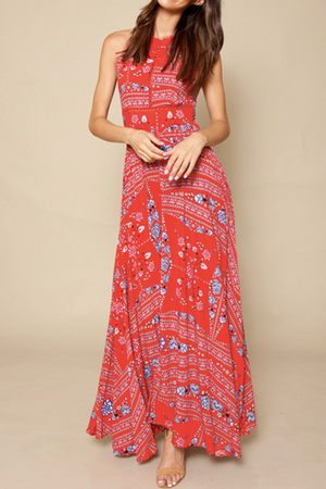 Red Bandana Long Boho Dress