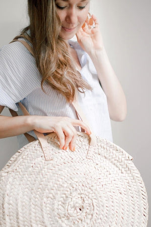 Oversized Round Straw Purse