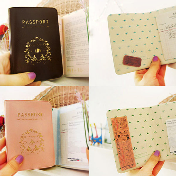 Pink and Brown Decorative Interior Passport Cover