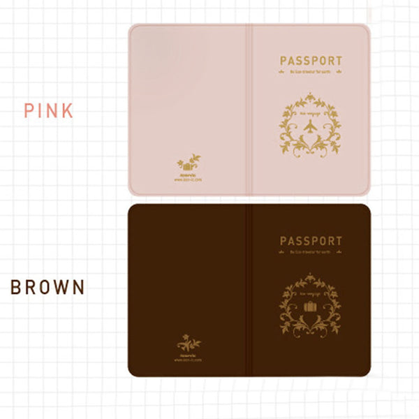 Pink and Brown Decorative Passport Cover