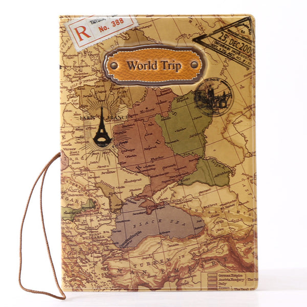 Tan Map Secure Passport Cover