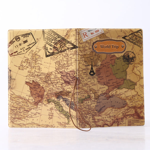 World Map and Stamps Passport Cover and Holder