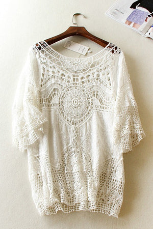 Lace Knit Boho Beach Blouse
