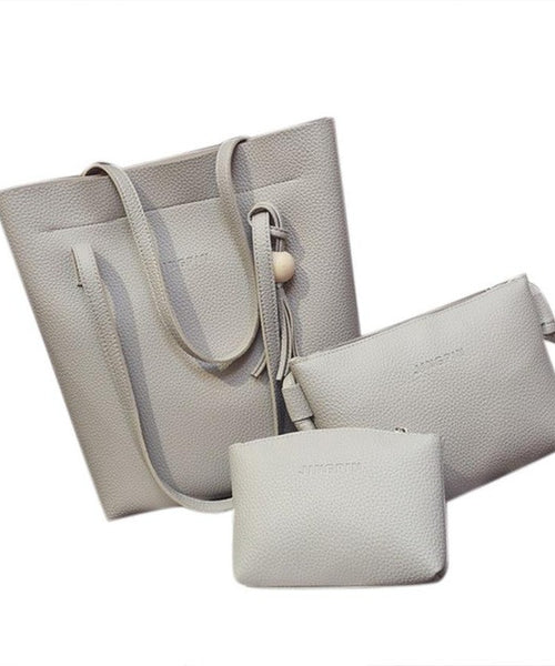 Neutral 3 Piece Purse Set in Taupe for Travel Style
