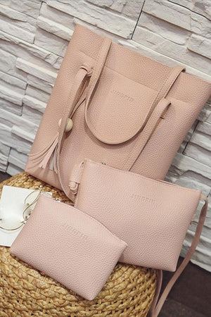 Pink 3 Piece Purse Set and tote bag set