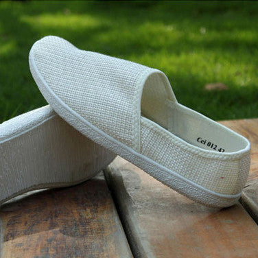 White Breathable leisure hemp loafers Men's flats