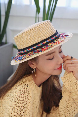 Straw Summer Fedora with Tassels