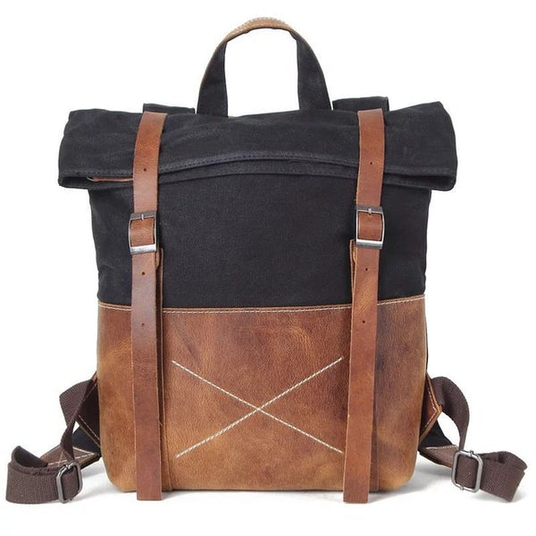 Indi Canvas Leather Laptop Backpack