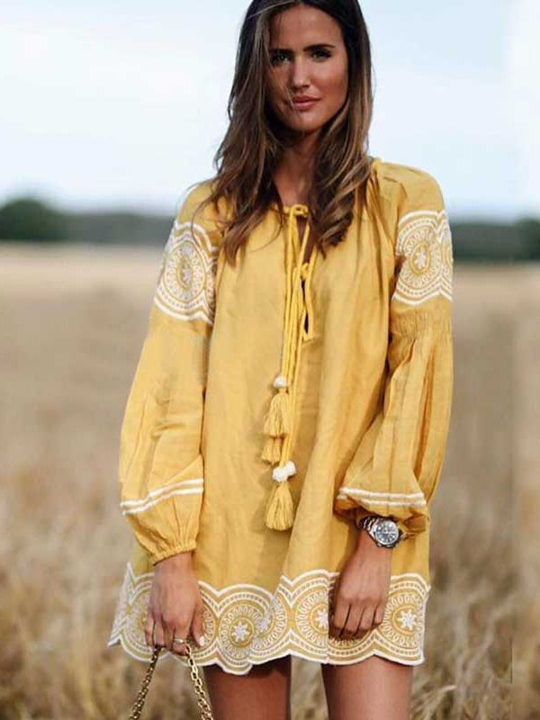 Boho Floral Embroidered Linen Tunic Dress/Top