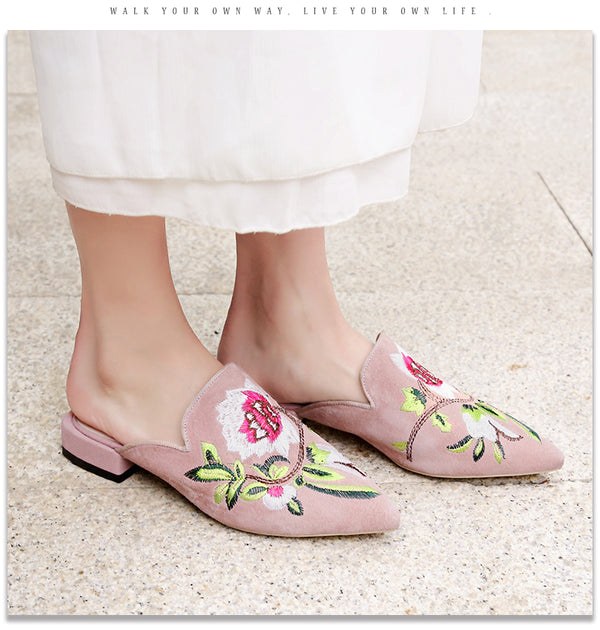 Floral Handmade Embroidered Slip On Flats