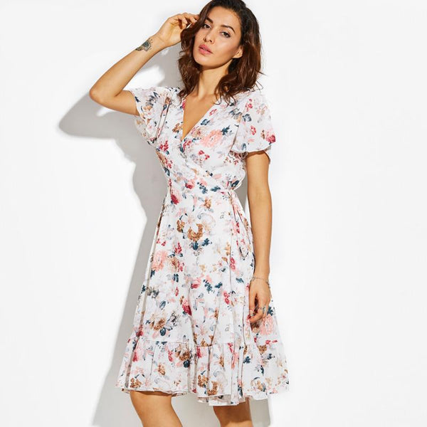 Floral Summer Wrap Dress