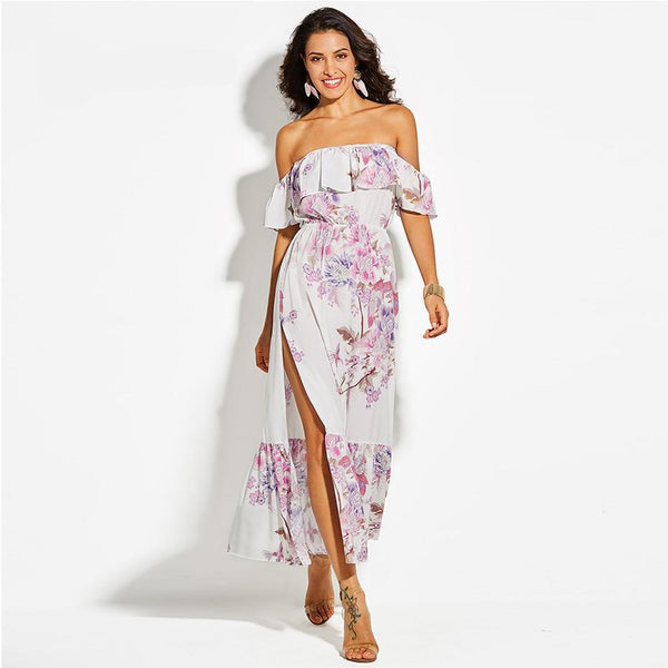 Long Flirty Maxi High Slit Summer Dress