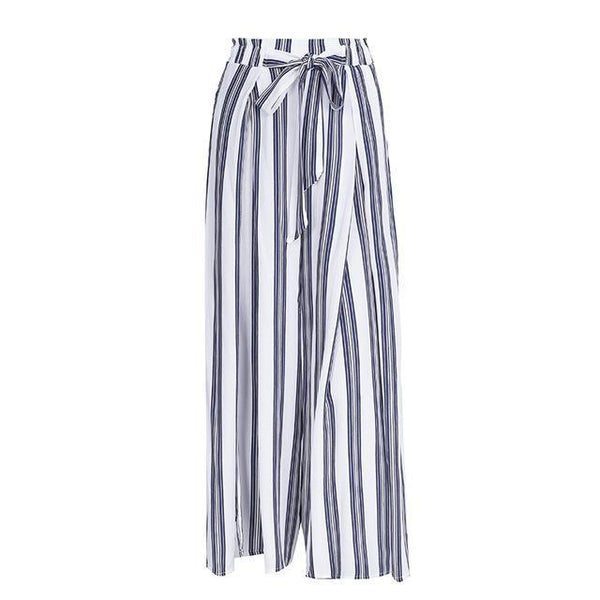 blue striped trendy women's travel pants