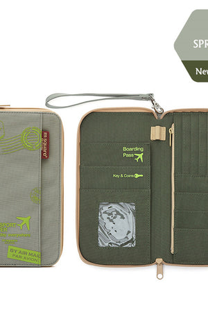 Light Green Stamped functional travel wallet