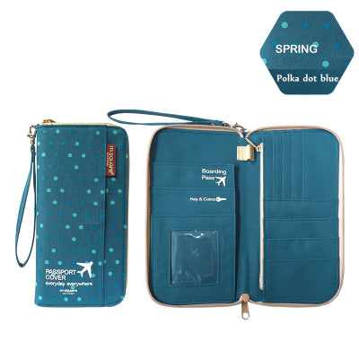 Polkadot travel wallet and document holder organizer purse