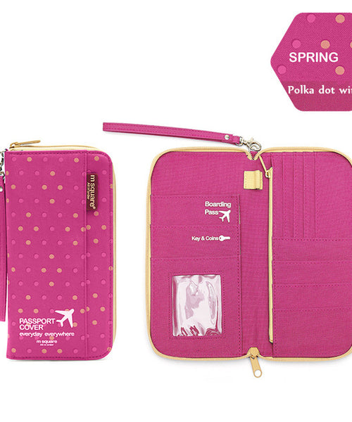 Pink Polka Dot Travel Document holder
