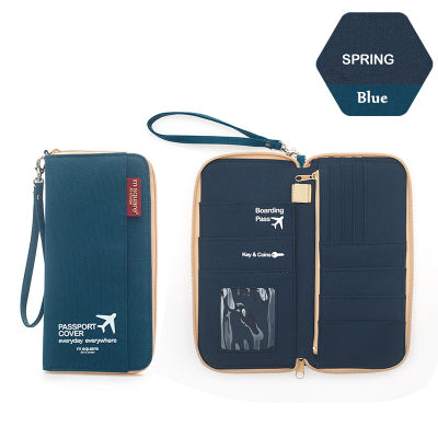 Light Blue Handheld travel wallet purse