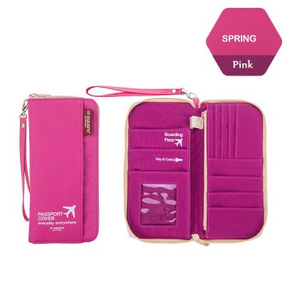Pink zip up hand held pocket organizer money holder