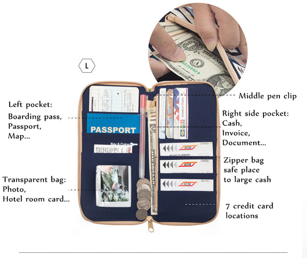 Travel wallet organizer money bag security pouch