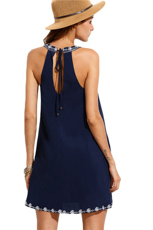 High Neck Summer Mini Dress/Cover Up
