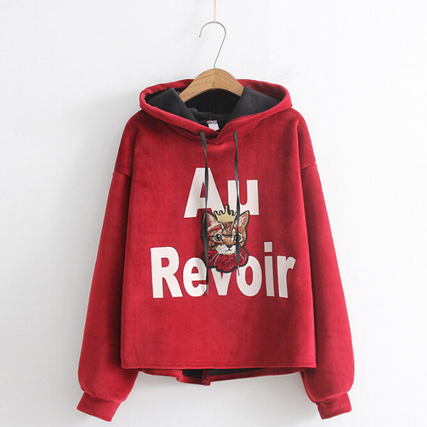 Red Embroidered Travel Hoodie with kitten