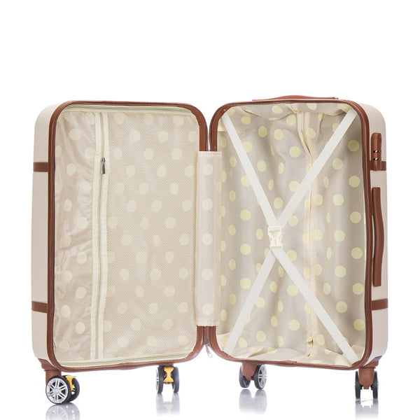 Classic retro rolling hard shell luggage polka dot interior