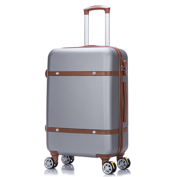 silver leather hard shell polycarbonate suitcase rolling
