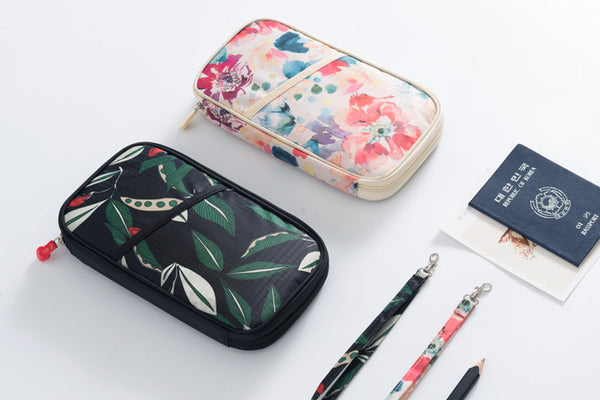 Floral Passport and Document Travel Pouch