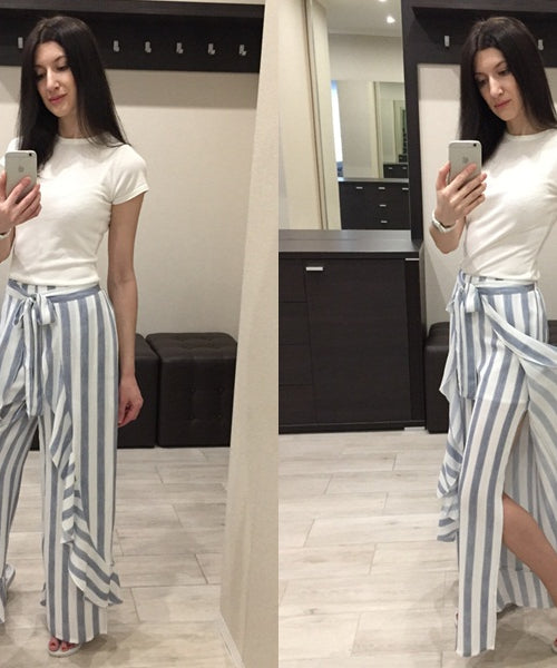 Striped Ruffled Summer Culottes