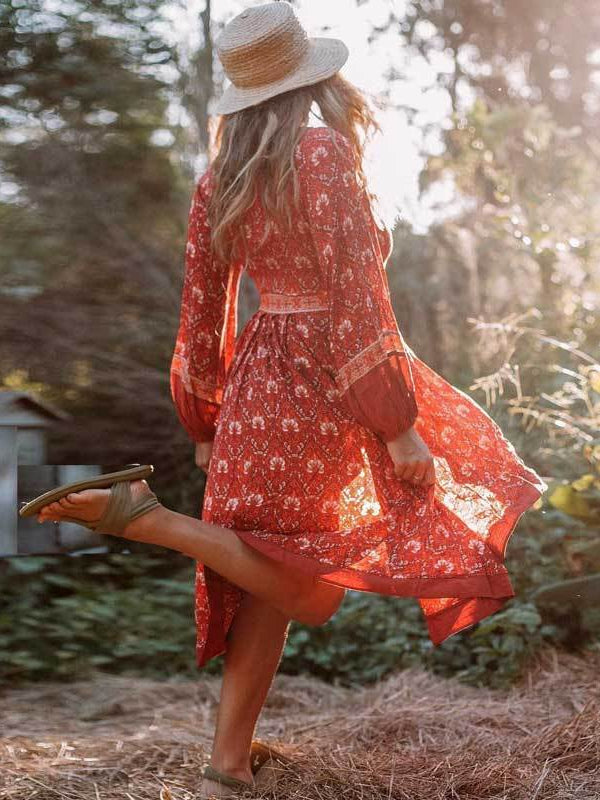 Beautiful red patterned boho midi dress