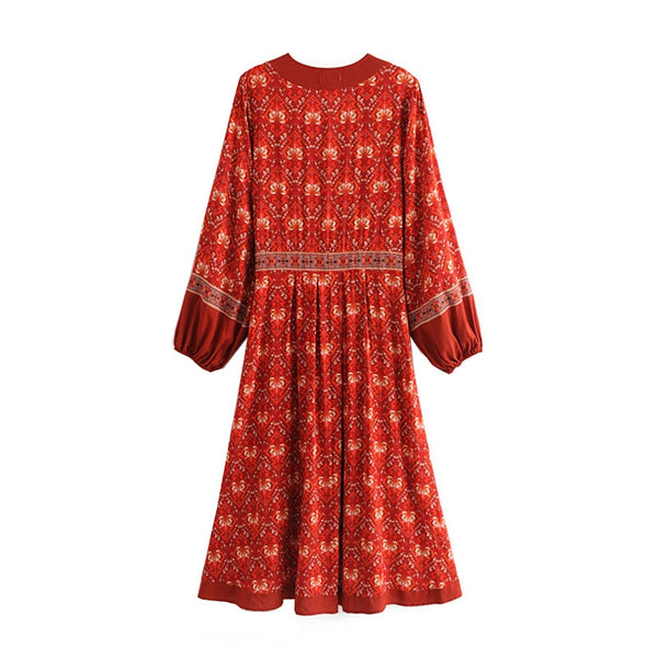 Earth Maven Lantern Sleeve Dress