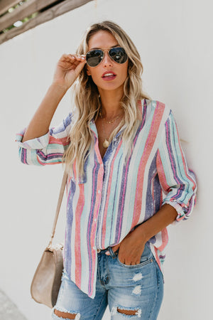 Newport Striped Button Up Blouse