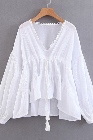 Airy Cotton Tunic Blouse