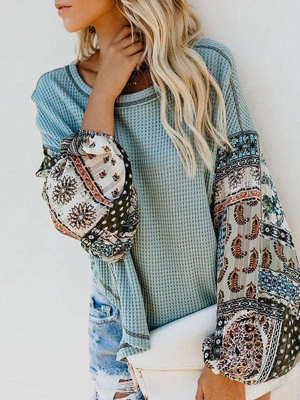 Light Knit Patchwork Sweater