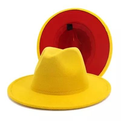 yellow fedora w/red