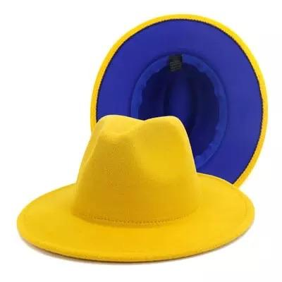 Yellow and Royal blue fedora