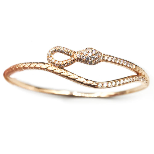 Rose Gold Serpentine Diamond Bangle